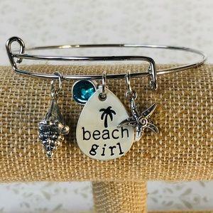 Beach Girl Silver Turquoise Shell Bangle Bracelet